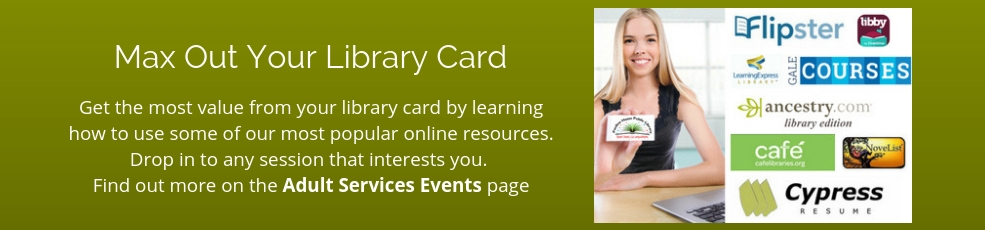 Get the most value from your library card by learning to use popular online resources. Click to learn more about session topics, dates, and times.