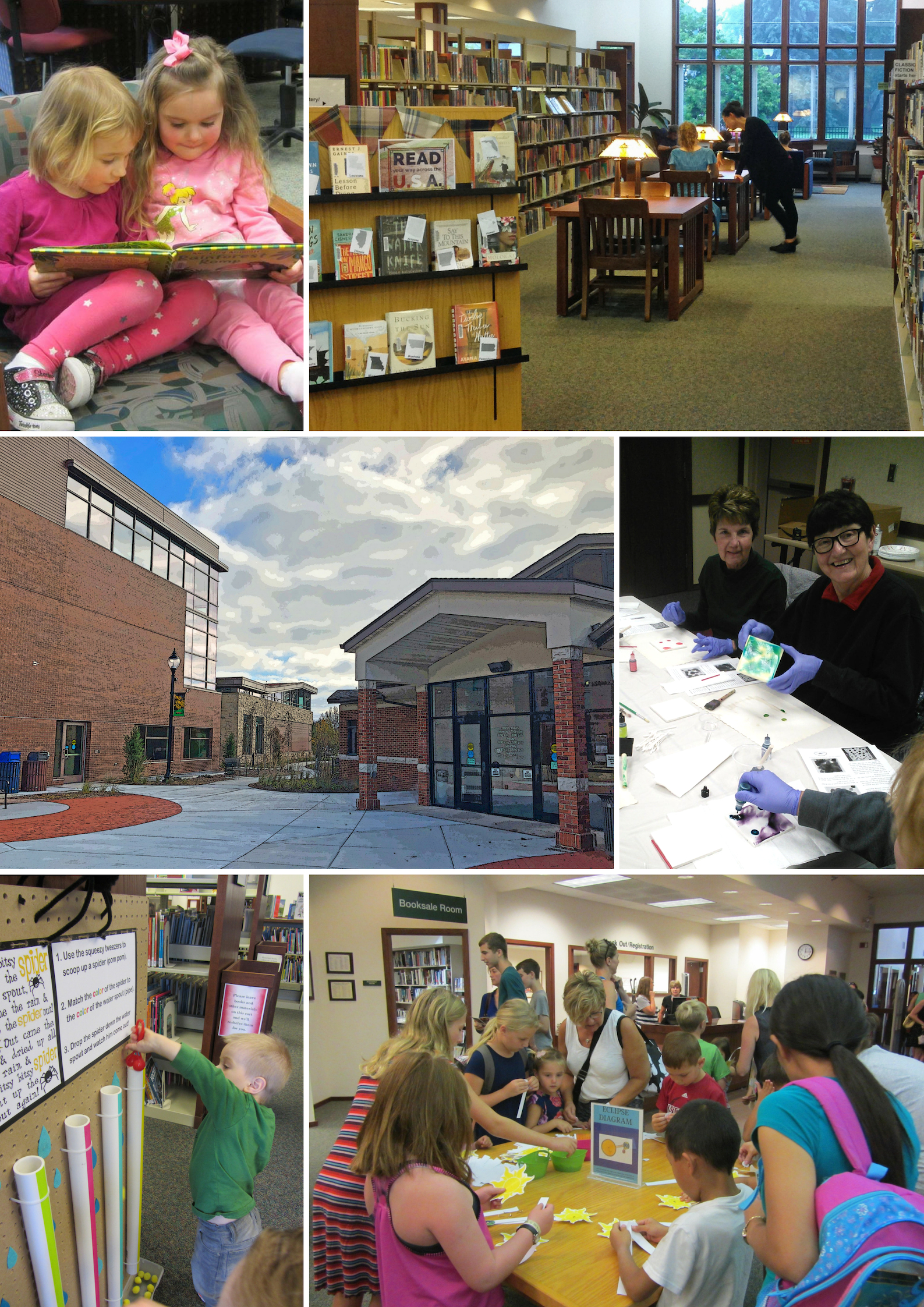 Library users engaged in activities around the building.