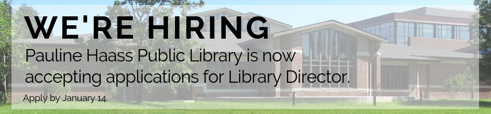 Now accepting applications for Library Director. Apply by January 14.